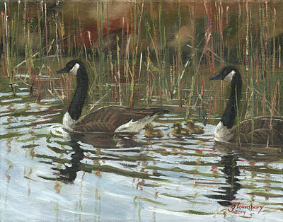 Canadian Geese Painting - A Family Outing by Grant Lounsbury