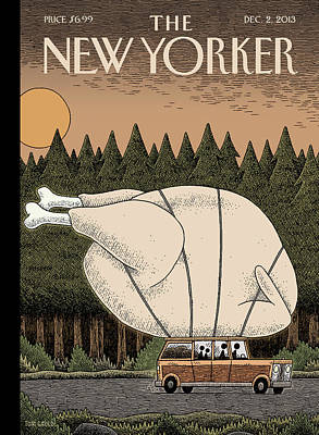 Tom Gauld Painting - A Family Rides Home With A Giant Turkey Tied by Tom Gauld