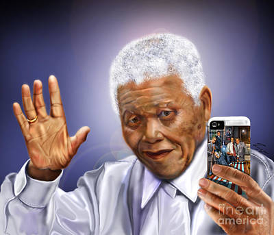 Nobel Peace Prize Painting - A Farewell Selfie To The World - Nelson Mandela  by Reggie Duffie