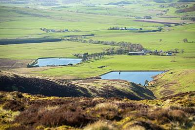 A Farm And Reservoirs Art Print by Ashley Cooper