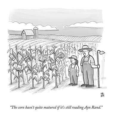 Farm Drawing - A Farmer And His Daughter Look At Cornstalks Who by Paul Noth