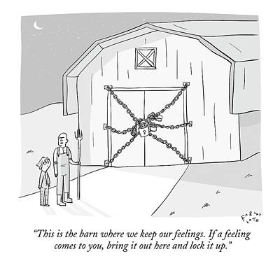Farm Drawing - A Farmer Shows His Son A Barn That Is Locked by Farley Katz