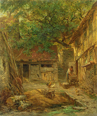 Chicken Photograph - A Farmhouse Courtyard, 1862 Oil On Canvas by Anton Burger