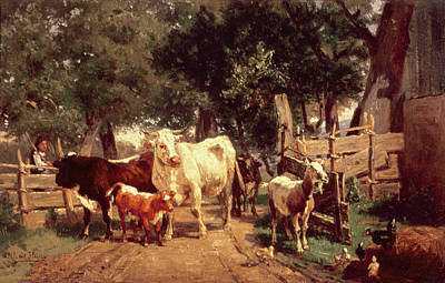 A Farmyard Scene Art Print by Eduard Weichberger