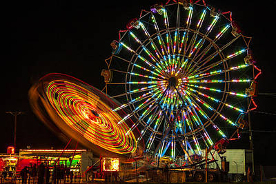 Art Print featuring the photograph Colorful Carnival Ferris Wheel Ride At Night by Jerry Cowart