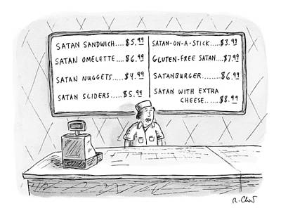 Fast Food Drawing - A Fast Food Employee Stands In Front Of A Menu by Roz Chast