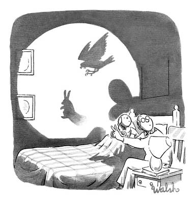 April 27th Drawing - A Father And Daughter Make Shadow Puppets by Liam Walsh