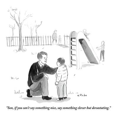 January Drawing - A Father Encourages His Son At The Playground by Emily Flake