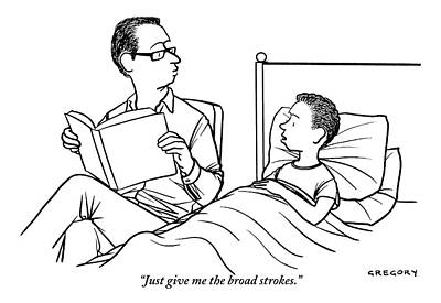 Bed Drawing - A Father Is Seen Reading A Book To His Son Who by Alex Gregory