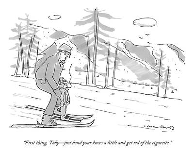 A Father Teaches His Son To Ski. The Son Art Print