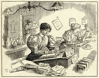 Ledger Books Wall Art - Drawing - A Female Clerk At Work In A China by Mary Evans Picture Library