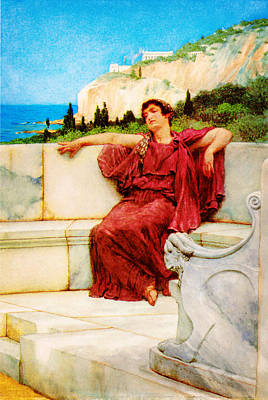 A Female Figure Resting  Dolce Far Niente By Sir Lawrence Alma Tadema Art Print by MotionAge Designs