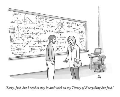 Dating Drawing - A Female Math Professor Speaks To A Man by Paul Noth