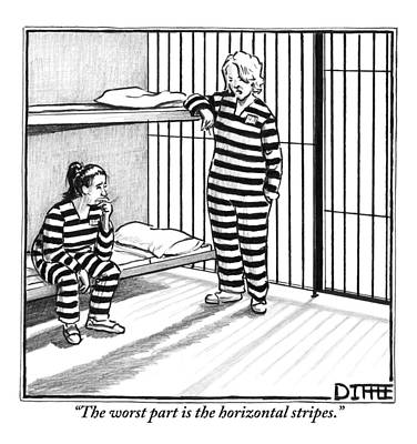 Prison Cell Wall Art - Drawing - A Female Prisoner by Matthew Diffee