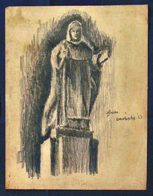 Drawing - A Female Saint ' 63 by Glenn Bautista