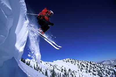 A Female Telemark Skier Jumps Art Print