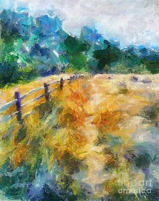 Rural Scenes Painting - A Fence In A Marsh by Dragica  Micki Fortuna