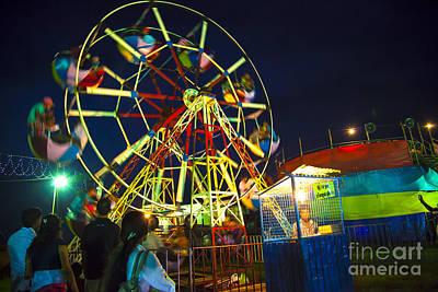 A Ferris Wheel Veers By A Big Folk Festival Art Print by Regina Koch