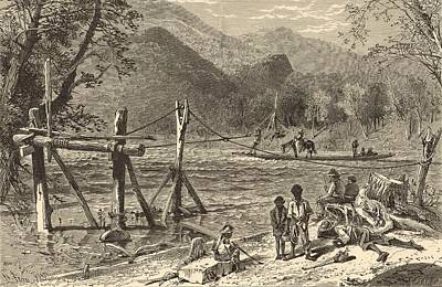 A Ferry On The French Broad 1872 Engraving Art Print by Antique Engravings
