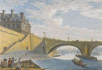 A Ferry On The Seine Below The Pont Royal Art Print