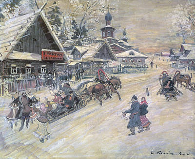 Village Church Painting - A Festive Walk, Russia by Konstantin Alekseevich Korovin