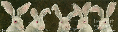 Hare Wall Art - Painting - A Few Grey Hares... by Will Bullas