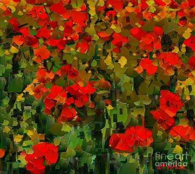 Tuscany Art Mixed Media - A Field Of Poppies by Dragica  Micki Fortuna