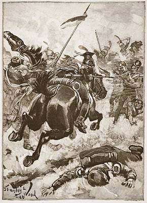 Horses Drawing - A Fierce Hand-to-hand Fight Ensued by Stanley L. Wood