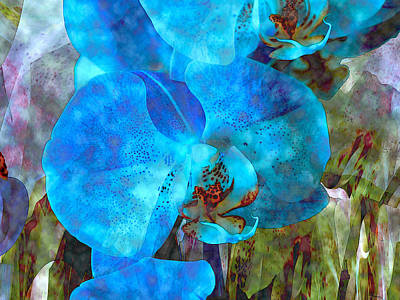 Free Form Mixed Media - A Fine Blue Orchid Dream by Lynda Lehmann