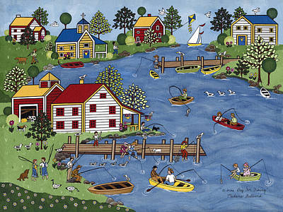 Cabin Painting - A Fine Day For Fishing by Medana Gabbard