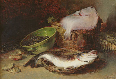 A Still Life Of A Fish Painting - A Fine Fish by Guillaume Romain Fouace