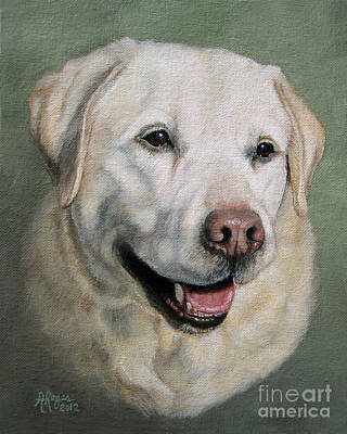 Painting - A Fine Old Lady Yellow Labrador Portrait by Amy Reges