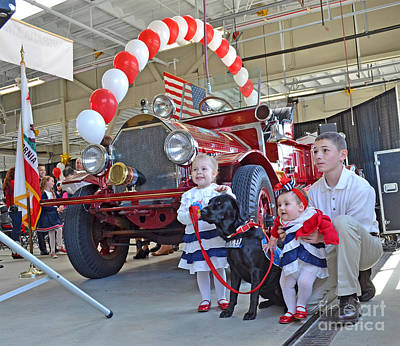 Photograph - A Fire Department Retirement Celebration With Family  by Jim Fitzpatrick