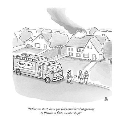 A Fireman Talks To A Family While Their House Art Print by Paul Noth