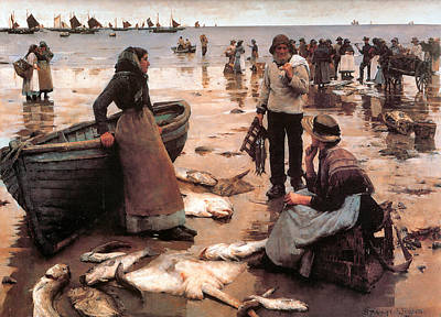 Beach Digital Art - A Fish Sale on a Cornish Beach by Stanhope Alexander Forbes