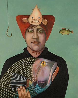 Trout Painting - A Fish Story by Leah Saulnier The Painting Maniac