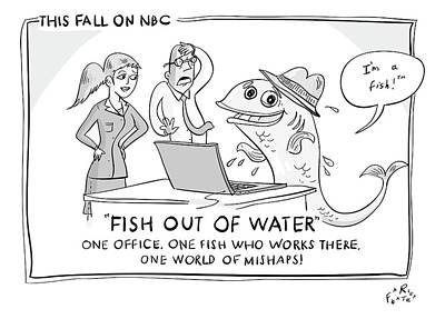 Tv Drawing - A Fish Tries To Use A Computer While Two by Farley Katz