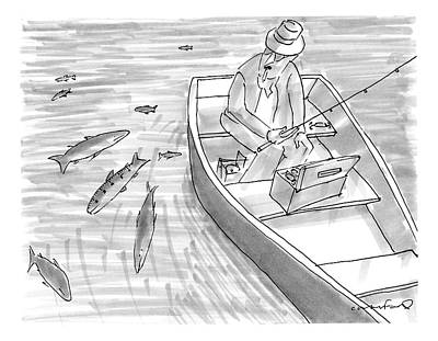 Catch Drawing - A Fisherman On A Rowboat Looks At The Fish by Michael Crawford