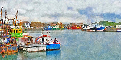 Digital Art - A Fisherman Preparing His Boat by Digital Photographic Arts