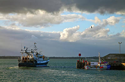 Fishing Harbour Photograph - A Fishing Boat Leaving Inthe Newly by Panoramic Images
