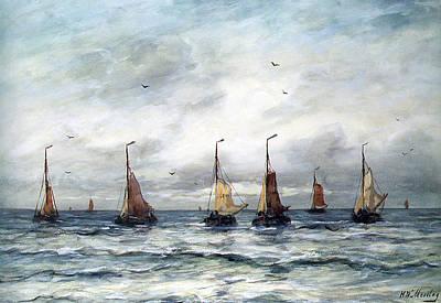 Sailboat Ocean Digital Art - A Fishing Fleet by Hendrik Willem Mesdag