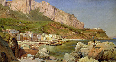 A Fishing Village At Capri Art Print by Louis Gurlitt