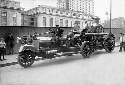 Fire Engine Photograph - A Five Wheel Fire Engine by Underwood Archives