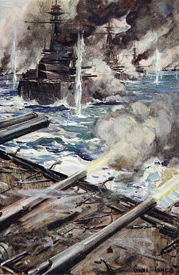 Action Drawing - A Fleet Of Battleships Firing by Cyrus Cuneo