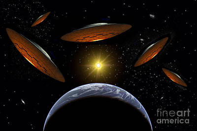 A Fleet Of Flying Saucers Arriving Art Print by Stocktrek Images