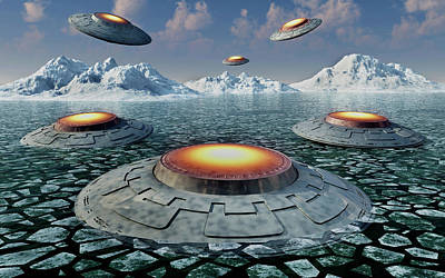 A Fleet Of Ufos In The Antarctic Art Print by Mark Stevenson