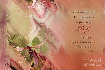 Digital Art - A Fleur De Peau - Happiness Quote 03 by Aimelle