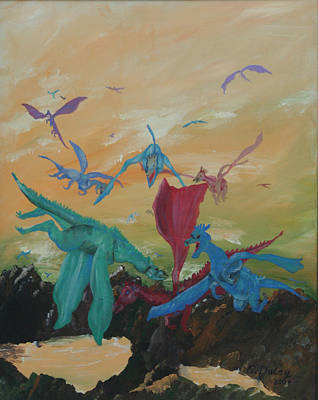 Painting - A Flight Of Dragons by Gail Daley