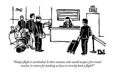 Teaching Drawing - A Flight Receptionist Announces To Travelers by Drew Dernavich