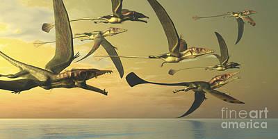 Flock Of Bird Digital Art - A Flock Of Eudimorphodon Flying by Corey Ford